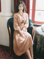 Dress Autumn of 2019 Light powder L,M,S longuette singleton  Long sleeves commute V-neck Elastic waist Solid color Socket A-line skirt routine 18-24 years old Retro Frenulum knitting