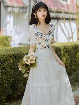 Dress Summer 2021 white S,M,L longuette singleton  Short sleeve square neck High waist Decor zipper A-line skirt pagoda sleeve Type A Embroidery Chiffon