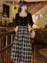 Dress Autumn 2020 black S,M,L,XL longuette Fake two pieces Long sleeves commute square neck High waist other zipper Big swing routine Type A lady Button, button