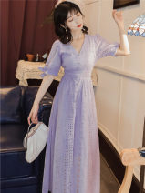 Dress Summer 2021 violet S,M,L longuette singleton  stand collar High waist zipper A-line skirt puff sleeve Type A Lace