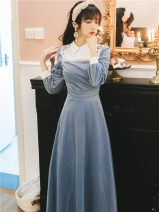 Dress Autumn 2020 blue S,M,L,XL longuette Fake two pieces Long sleeves commute Doll Collar High waist Solid color Socket Big swing routine Others 18-24 years old Type A Retro Embroidery, tridimensional decoration, buttons 8179#