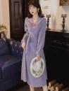 Dress Spring 2021 violet S,M,L longuette singleton  Long sleeves commute Doll Collar High waist Solid color zipper Big swing lady Strap, button