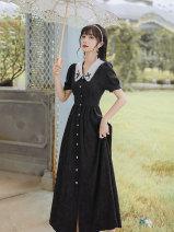 Dress Summer 2021 black S,M,L,XL longuette Short sleeve Doll Collar High waist Single breasted A-line skirt puff sleeve Type A Button