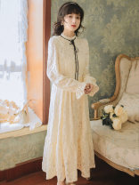 Dress Spring 2021 Picture color S,M,L longuette singleton  Long sleeves commute stand collar High waist Solid color zipper A-line skirt pagoda sleeve Type A literature Lace, Gouhua, hollow, lace, button