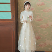 Dress Spring 2020 Off white S,M,L longuette singleton  Long sleeves Sweet Crew neck High waist Solid color zipper routine Type A Mesh, stitching, embroidery 6002# Mori