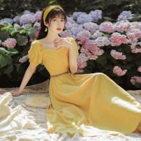 Dress Summer 2020 yellow S,M,L longuette singleton  Short sleeve square neck High waist zipper A-line skirt puff sleeve Type A temperament