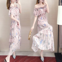 Dress Summer of 2019 White pink S M L XL XXL longuette singleton  Short sleeve commute One word collar High waist Decor Socket Princess Dress Lotus leaf sleeve Others 18-24 years old Type A Gnlmendo / Jingli Mingdu Korean version printing More than 95% Chiffon other Other 100%