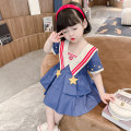 Dress Navy collar Star Dress female Yibailido 80cm 90cm 100cm 110cm 120cm 130cm Other 100% summer Korean version Short sleeve Solid color cotton A-line skirt YBL33101 Summer 2021 12 months, 6 months, 9 months, 18 months, 2 years, 3 years, 4 years, 5 years, 6 years