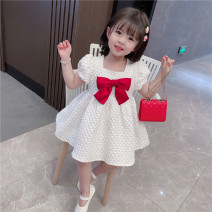 Dress White bow bubble princess skirt female Yibailido 80cm 90cm 100cm 110cm 120cm 130cm Polyester 100% summer princess Short sleeve Solid color Cotton blended fabric Cake skirt SMqN42962 Summer 2021 12 months, 18 months, 2 years old, 3 years old, 4 years old, 5 years old, 6 years old and 7 years old