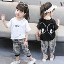 suit Yibailido 90cm 100cm 110cm 120cm 130cm female summer Korean version Short sleeve + pants 2 pieces Thin money There are models in the real shooting Socket nothing Cartoon animation cotton children Expression of love Summer 2021