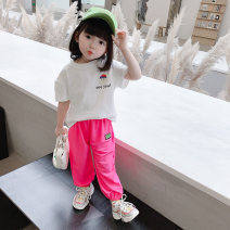 suit Yibailido White doll head short sleeve suit black doll head short sleeve suit 80cm 90cm 100cm 110cm 120cm 130cm female summer leisure time Short sleeve + pants 2 pieces Thin money There are models in the real shooting Socket nothing Cartoon animation children Expression of love vUfr34331