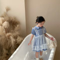 Dress blue female Other / other 80cm,90cm,100cm,110cm,120cm,130cm Other 100% summer Korean version Short sleeve Netting A-line skirt 12 months, 9 months, 18 months, 2 years old, 3 years old, 4 years old, 5 years old, 6 years old, 7 years old