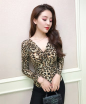 T-shirt S M L XL 2XL 3XL 4XL Autumn of 2018 Long sleeves V-neck Self cultivation Regular routine street polyester fiber 86% (inclusive) -95% (inclusive) Leopard Print Miss Aries bow Polyester 92.6% polyurethane elastic fiber (spandex) 7.4% Pure e-commerce (online only) Europe and America
