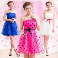 Dress Summer 2020 White, rose, blue 50. XL, one size fits all Short skirt singleton  Sleeveless Sweet Crew neck middle-waisted Dot Socket Princess Dress other Breast wrapping 18-24 years old Holiday Lady Bowknot, ruffle, flocking, hollowing, embroidery, lace up, stitching, gauze More than 95%