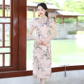 cheongsam Summer 2020 Short sleeve long cheongsam ethnic style Low slit daily Oblique lapel Decor Over 35 years old Piping other 96% and above