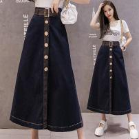 skirt Spring 2021 S,M,L,XL,2XL blue longuette commute High waist Umbrella skirt Solid color Type A 25-29 years old DF 51% (inclusive) - 70% (inclusive) Denim cotton Korean version