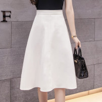 skirt Summer 2021 S,M,L,XL Off white, black Short skirt commute High waist A-line skirt Solid color Type A 18-24 years old GH 51% (inclusive) - 70% (inclusive) other other pocket Korean version