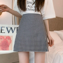 skirt Summer 2021 S,M,L,XL,2XL Apricot, black, check Short skirt commute High waist A-line skirt Solid color Type A 18-24 years old GH 51% (inclusive) - 70% (inclusive) other other Korean version