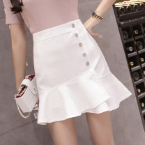 skirt Summer 2021 S,M,L,XL,2XL White, blue, black Short skirt commute High waist A-line skirt Solid color Type A 18-24 years old GH 51% (inclusive) - 70% (inclusive) brocade cotton Button Korean version