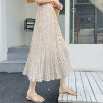 skirt Summer 2020 Average size White, black, apricot Mid length dress Versatile High waist Pleated skirt Dot Type A 18-24 years old SU 71% (inclusive) - 80% (inclusive) Chiffon other fold
