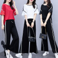 Women's large Spring 2021, summer 2021 Black, white, red L (recommended 90-115 kg), XL (recommended 115-135 kg), 2XL (recommended 135-155 kg), 3XL (recommended 155-175 kg), 4XL (recommended 175-200 kg) T-shirt Two piece set commute easy moderate Socket Short sleeve Solid color Korean version routine