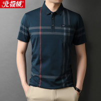 T-shirt Youth fashion thin 165/84A 170/88A 175/92A 180/96A 185/100A 190/104A Beijirog / Arctic velvet Short sleeve Shirt collar easy business affairs summer Cotton 75% polyester 25% middle age routine Business Casual Rib  Summer 2021 stripe pocket Color world No iron treatment Domestic famous brands