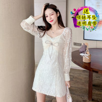 Dress Spring 2021 Apricot original S,M,L Short skirt singleton  Long sleeves commute One word collar High waist Solid color Socket A-line skirt routine Others 18-24 years old Type A Korean version bow Lace polyester fiber