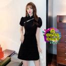 Dress Summer 2021 Black original S,M,L,XL Short skirt singleton  Short sleeve commute Solid color 18-24 years old Korean version