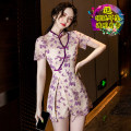 Dress Summer 2021 Purple, green S,M,L,XL,XXL Short skirt Two piece set Short sleeve commute Solid color 18-24 years old Korean version Lace
