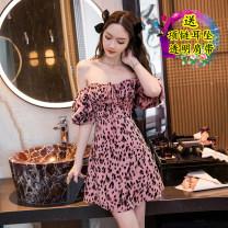 Dress Summer 2021 Pink original S,M,L,XL Middle-skirt singleton  Short sleeve commute One word collar High waist Decor zipper A-line skirt bishop sleeve 18-24 years old Type A Korean version zipper