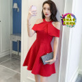 Dress Spring 2021 3XL,2XL,XL,L,M,S,XS Short skirt singleton  Sleeveless commute middle-waisted Solid color zipper A-line skirt Hanging neck style 18-24 years old Korean version