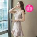 Dress Autumn 2021 Picture color S,M,L,XL Short skirt singleton  Long sleeves commute V-neck High waist Solid color zipper Ruffle Skirt Petal sleeve 18-24 years old Korean version