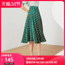 skirt Spring 2021 S,M,L,XL Green Mid length dress commute Natural waist A-line skirt Dot Type A 25-29 years old 20XZ6358B 91% (inclusive) - 95% (inclusive) Other / other polyester fiber bow lady