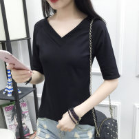 T-shirt White, gray, orange, black, 8649 # black, 8649 # white, 8649 # gray, 8649 # orange M. L, XL, 2XL, pay attention to the store and give small gifts Spring of 2019 elbow sleeve V-neck Self cultivation Regular routine commute cotton 86% (inclusive) -95% (inclusive) 25-29 years old Korean version