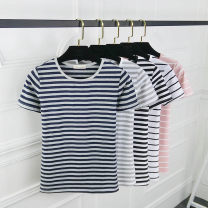 T-shirt Wide white stripe, wide pink stripe, fine black stripe, dark blue stripe, fine gray stripe M. L, XL, 2XL, pay attention to the store and give small gifts Summer of 2019 Short sleeve Crew neck Self cultivation Regular routine commute cotton 86% (inclusive) -95% (inclusive) 25-29 years old