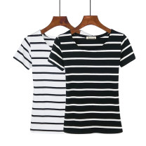 T-shirt Wide black stripe, fine red stripe, wide white stripe, thick wide stripe, fine blue stripe, fine white stripe, fine black stripe S. M, l, XL, 2XL, 3XL, a small gift for collection Autumn of 2018 Short sleeve Crew neck Self cultivation Regular routine commute cotton 25-29 years old youth 833#