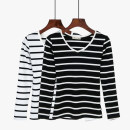T-shirt Wide red stripe, wide white stripe, fine blue stripe, wide black stripe, thick wide stripe, wide gray stripe S,M,L,XL,2XL Spring of 2019 Long sleeves V-neck Self cultivation Regular routine commute cotton 86% (inclusive) -95% (inclusive) 25-29 years old Korean version classic Beyonce 818#
