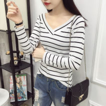 T-shirt Wide pink stripe, wide black stripe, wide gray stripe, wide white stripe S. M, l, XL, pay attention to the store and give small gifts Spring of 2019 Long sleeves V-neck Self cultivation Regular routine commute cotton 86% (inclusive) -95% (inclusive) 25-29 years old Korean version classic