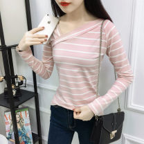 T-shirt Spring of 2019 Long sleeves V-neck Self cultivation Regular routine commute cotton 86% (inclusive) -95% (inclusive) 25-29 years old Korean version classic Coarse horizontal stripe Hani tide