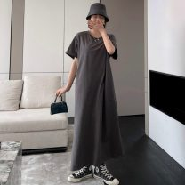 Women's large Summer 2021 grey Large L [suggestion 100] - 135 kg] , Large XL [suggestion 135] - 160 kg] , Large 2XL [suggestion 160] - 180 kg] Dress singleton  commute Straight cylinder moderate Socket Short sleeve Solid color Korean version Crew neck Polyester, cotton Three dimensional cutting other