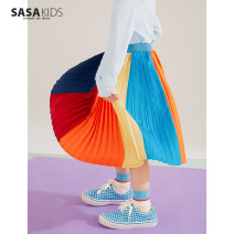 skirt 100cm, 110cm, 120cm, 130cm, 140cm, 150cm, 160cm (s size), 165cm (M size) Rainbow color Other / other female Polyester 99% other 1% spring and autumn skirt leisure time stripe Pleats polyester NBSY2104103282K Class A