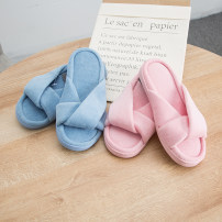 Household slippers / sandals / cotton slippers / household shoes Blue, gray, pink Slipper spring and autumn female Simplicity Barefoot