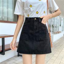 skirt Summer 2020 S,M,L,XL,2XL,3XL,4XL,5XL black Short skirt commute High waist A-line skirt Solid color Type A 18-24 years old 71% (inclusive) - 80% (inclusive) Denim cotton Button, zipper Korean version