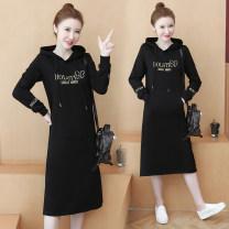 Dress Spring 2021 Black (without velvet), black (with velvet) M,L,XL,2XL,3XL,4XL longuette singleton  Long sleeves commute Hood letter routine Korean version other
