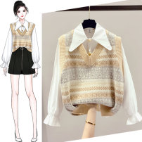 Wool knitwear Spring 2021 S M L XL Suit apricot suit black vest apricot Vest black shirt white Long sleeves Two piece set Socket other More than 95% Regular routine commute easy Doll Collar routine lattice Single breasted Korean version SOM8268-03 18-24 years old Saronala / saonara Lotus leaf edge