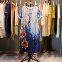 Dress Summer 2020 blue Single code number Mid length dress singleton  Short sleeve commute Crew neck Loose waist Decor Socket literature More than 95% hemp