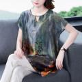 T-shirt blue M,L,XL,2XL,3XL,4XL,5XL Summer 2020 Sleeveless Crew neck easy Regular routine commute silk 31% (inclusive) - 50% (inclusive) Broken flowers AA05188075