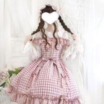Lolita / soft girl / dress Mi you Light pink skirt, small cream inside, skirt support (one size), long sleeve inside L,M,S No season goods in stock Lolita, soft girl