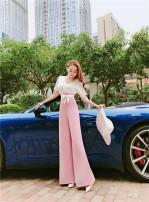 Casual pants Pink white S,M,L,XL Summer 2020 trousers Wide leg pants High waist routine belt