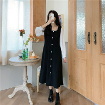 Dress Autumn 2020 black S [90-100kg], m [100-110kg], l [110-120kg], XL [120-135kg], 2XL [135-150kg], 3XL [150-165kg], 4XL [165-175kg], 5XL [175-200kg] Mid length dress singleton  Short sleeve commute square neck Loose waist Solid color puff sleeve Type H Other / other Korean version brocade other